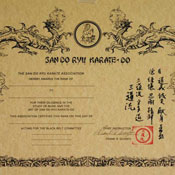 San Do Ryu Karate-Do Certificate